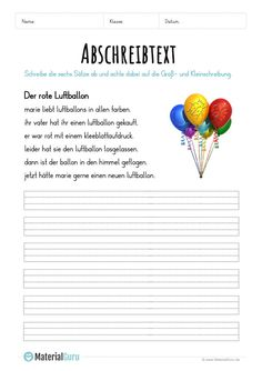 Worksheet: Copy text - The red balloon education management languages arts studies education Teaching First Grade, Teaching Kids, Kids Learning, Red Words, German Grammar, Alphabet Writing, Languages Online, German Language Learning, Learn German