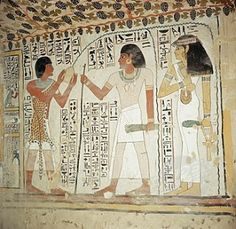 13. Ancient Egypt: (New Kingdom) Man making an offering on Right, wearing Leopard Skin and Pleated Linen Schenti