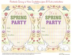 Free Printable Spring is Here Easter Invitations