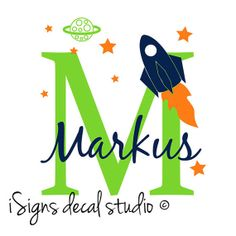Rocket Ship Initial Name Decal  Nursery Kids by iSignsDecalStudio, $35.00