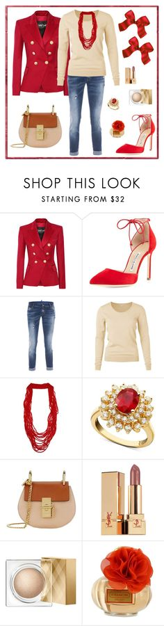"""""""Untitled #217"""" by maurogianni-za ❤ liked on Polyvore featuring Balmain, Manolo Blahnik, Dsquared2, R.H. Macy's & Co., Chloé, Yves Saint Laurent, Burberry and Coach"""