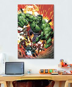 This Avengers Explosion Gallery-Wrapped Canvas is perfect! #zulilyfinds