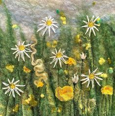 I can show you this Buttercup & Daisy picture now it has been gifted. Handmade felt with Wensleydale locks, machine and hand stitching.… Mixed Media Artists, Handmade Felt, Wet Felting, Textile Artists, Daisy, Buttercup, Landscape, Hand Stitching, Locks
