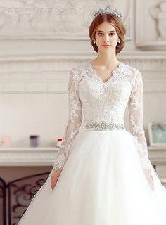 Elegant V-Neck Appliques Cathedral Wedding Dress With Sleeves Wedding Dresses 2015- ericdress.com 11122393