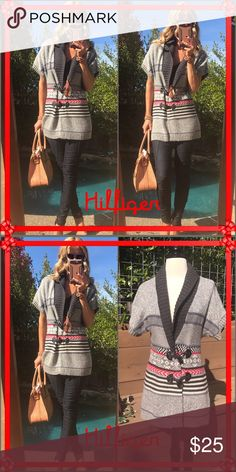 ❣️Tommy❣️ Holiday ready!, this very fall sweater will have you feeling happy!. Colors are perfect for this time of year!. Wear open or buckle the two clasps for a different vibe. It's fabulous, runs big for a small. Tommy Hilfiger Sweaters