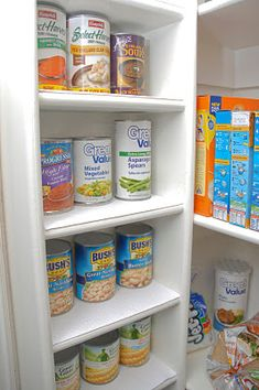 Shallow shelving in pantry is perfect for items like canned goods {featured on Home Storage Solutions 101}