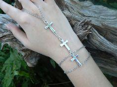 triple cross slave bracelet cross in Gothic Goth rocker Christian styles