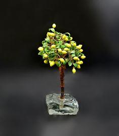 Vintage Art Glass Lemon Tree Vintage Wood, Vintage Art, Clear Glass, Glass Art, Tree Art, Gifts For Him, Lemon, Delicate, Miniatures