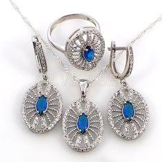 Free shipping full 925 silver set turkish hurrem kosem sultan sapphire blue topaz spider web серебряный ottoman hand set workmanship jewelle by SILVERSEZ on Etsy