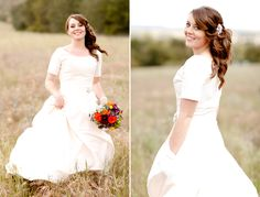 modest wedding gown with pockets