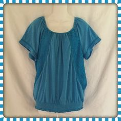 💙 Cute Blue Top Cute Blue top with lace accents...banded bottom Canyon River Blues Tops