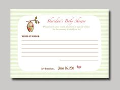 Silk Pod Baby Cocoon Advice Cards  24 by StudioGStationery on Etsy, $18.00