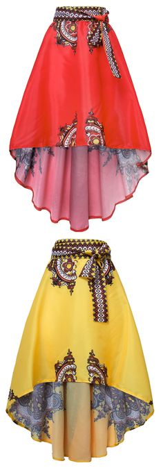 Folk Style Floral Print Irregular High Waist Skirt For Women
