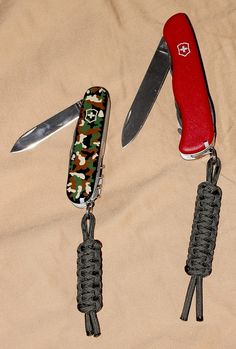 Paracord lanyards for my Victorinox Huntsman and Outrider paracord