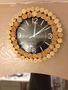 Decorate a plain inexpensive clock with wine corks