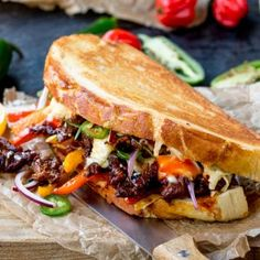 Korean Steak Sandwich with Jalapenos and Garlic Mayo - Nicky's Kitchen Sanctuary