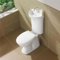Un inodoro con lavamanos incorporado en el tanque de agua: