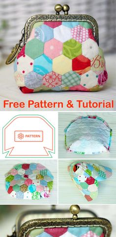 Bag Patterns To Sew, Sewing Patterns Free, Sewing Tutorials, Free Pattern, Hexagon Patchwork, Coin Purse Tutorial, Purses And Bags, Coin Purses, Frame Purse