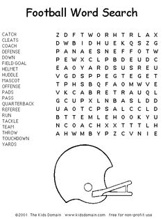 Football Word Search--always great time fillers and fun for the season!