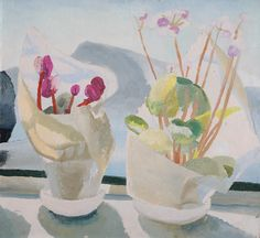 Winifred Nicholson, Cyclamen and Primula, 1923 (circa). Cyclamen and Primula was painted by Winifred Nicholson in Switzerland. In 1921 she and her husband Ben bought the Villa Capriccio, near Castagnola in the Ticino. Winifred Nicholson, William Nicholson, Dulwich Picture Gallery, Art Uk, Flower Art, Photo Art, Modern Art, Illustrator, Fine Art