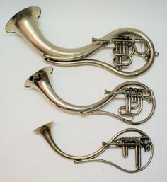 Teardrop shaped Over The Shoulder set of midhorn/ballad horns, late 1800s. I hear there are only two complete sets of these in existence, and this is not one of them.