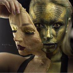 The incredible @mykie_ created this amazing shedding snake look using #sugarpill Goldilux metallic gold eyeshadow all ova her face! Sooo good!