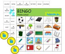 Bingo thema school om met anderstalige nieuwkomers en leerlingen Nederlands te…