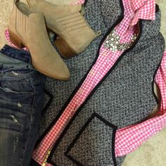 checkered shirt, vest, jeans and booties