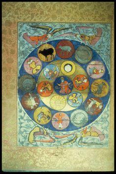 Title Zodiac Category Ottoman Turkish Miniature Paintings Object Name Falname MS title and folio number Topkapi Sarayi Muzesi. Medieval Manuscript, Illuminated Manuscript, Planets Wallpaper, Occult Art, Historical Art, Science Art, Religious Art, Ancient Art, Islamic Art