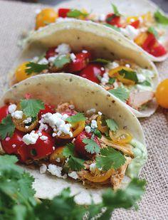 Chicken & Cherry Tomato Tacos with Avocado Crema / themerrythought