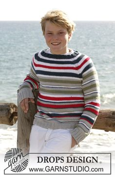 "Seashore Stripes / DROPS Children 15-14 - DROPS bluse i ""Paris"" med striber og raglan.  - Gratis opskrifter fra DROPS Design"