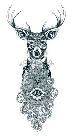 Ornate deer and hamsa symbol tattoo design