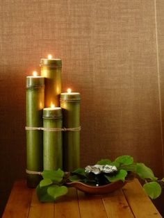 Bamboo candle sticks, handmade by Jesse Bright