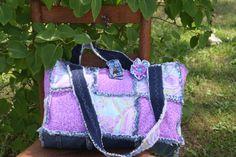 Rag Quilt Purse, Tote ,Diaper Bag, , up cycled denim,shoulder handbag, top handle handbag,Flower clip, Handmade Handbag Made by Prinilla by Prinilla on Etsy