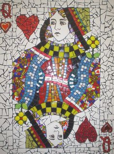 Queen of Hearts Playing card , Debbie Ryan mosaic Tile Art, Mosaic Art, Mosaic Glass, Mosaic Tiles, Glass Art, Mosaics, Stained Glass, Mosaic Crafts, Mosaic Projects