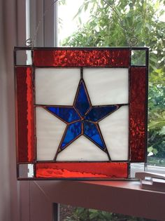 STAINED GLASS PATRIOTIC BLUE STAR WINDOW, WALL HANGING ORIGINAL DESIGN HANDCRAFT