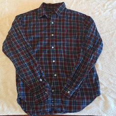 Long sleeve button down. Multicolored plaid button down. Size L (16/18) but fits like a S/M. Ralph Lauren Tops Button Down Shirts