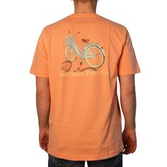Southern Point Beach Bike T-Shirt in Coral