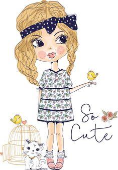 Cute Girl Vintage Vectores en stock y Arte vectorial Girl Cartoon, Cute Cartoon, Image Girly, Cartoon Drawings, Art Drawings, Illustration Girl, Big Eyes, Paper Dolls, Vector Art