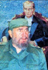 """Fidel Castro Atatürk için bunu söylemişti Atatürk posterinin önünde basın toplantısı düzenleyen Castro, Atatürk'e, Boğaz'a ve Ayasofya Müzesi'ne hayranlığını dile getirdi. ürkiye'den tespih, baston, kilim ile Mevlana'nın Mesnevi kitabını satın aldı. Daha sonra kendisini ziyaret eden Türk heyetine yine Atatürk'e duyduğu hisleri dile getirdi: """"Devrimci Kemal Atatürk, bizim esin kaynağımız oldu. 1919'da Anadolu'dan emperyalistleri atmak için, Bandırma gemisiyle Samsun'a çıktı. Büyük bir zafer…"""