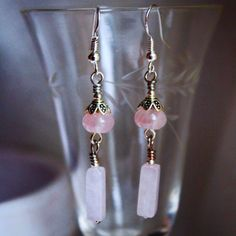 Beautiful rose quartz dangles. Made with new and upcycled rose quartz with silver findings and sterling hooks. Amazing gift for under  $20! Trinity Silver Jewelry is dedicated to offering quality jewelry at affordable prices!