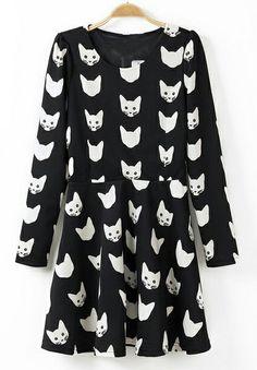 Black Long Sleeve Cat Pattern Ruffle Dress EUR€25.33
