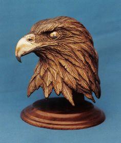 Dremel Wood Carving, Wood Carving Art, Wood Art, Wood Carving Patterns, Carving Designs, Bird Sculpture, Animal Sculptures, Eagle Head, Bald Eagle