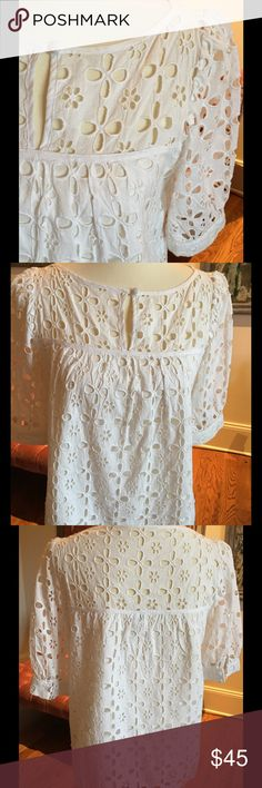 Milly Lace Blouse Milly White Lace Blouse, 1 button front closure. Milly Tops Blouses