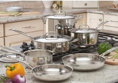 Cuisinart 77-10 Chef's Classic Stainless Steel 10-Piece Cookware Set for Christmas Gift