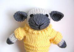 Stuffed Toy Lamb  Hand Knit Stuffed Animal  Spring by VeryCarey, $45.00