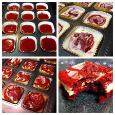 Red Velvet Cheesecake Brownies  1/2 cup butter  2-oz dark chocolate, coarsely chopped  1 cup sugar  2 large eggs  1 tsp vanilla extract  1 1/2 tsp red food coloring  2/3 cup all purpose flour  1/4 tsp salt  8-oz cream cheese, room temperature  1/3 cup sugar  1 large egg  1/2 tsp vanilla extract    350F  Bake for 20-25 minutes
