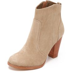 Joie Dalton Booties ($325) ❤ liked on Polyvore featuring shoes, boots, ankle booties, cement, joie booties, round cap, leather sole boots, joie and stacked heel boots