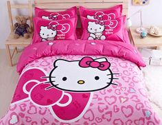 Cute Hello Kitty Bedding Duvet Quilt Cover Bedding Set Twin Full Queen Size Pink   eBay