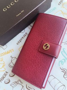280.49$  Watch now - http://viont.justgood.pw/vig/item.php?t=t4dj92i28764 - GUCCI Miss GG Leather Continental Clutch Wallet Red 337335 6236 New Authentic